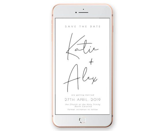 Calendar Save The Date Template In Rose Gold And Yellow Gold Editable Corjl Elegant Iphone Wedding Sms Message Smartphone Digital In 2021 Electronic Save The Date Save The Date Cards Save