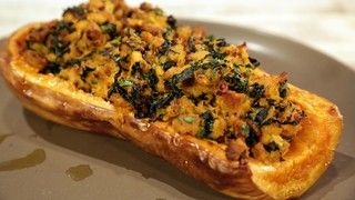 Stuffed Butternut Squash with Chicken Sausage and Kale