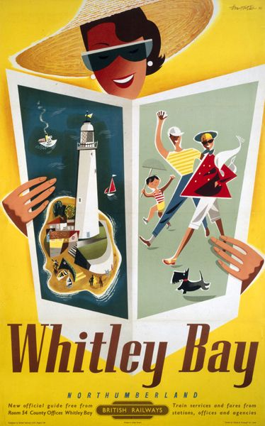 Whitley bay poster Andre Amstutz vintage british railway poster 1954