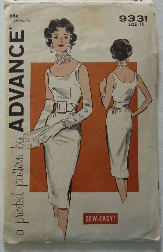 Advance 9331 ©1960s Misses' One-Piece Dress: The sleek line of this sheath adds…