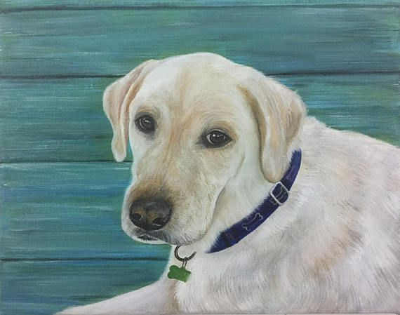 Mother's Day gift Yellow labrador retriever dog painting