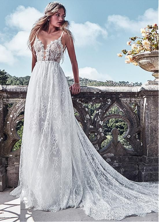 Magbridal Fabulous Lace & Satin Spaghetti Straps A-Line Wedding Dresses With Bea…