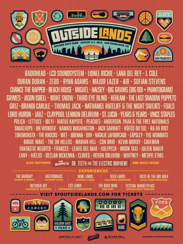 San Francisco's annual Outside Lands Festival returns this year to Golden Gate park on August 5 through August 7. Topping the bill will be Radiohead, LCD Sou...
