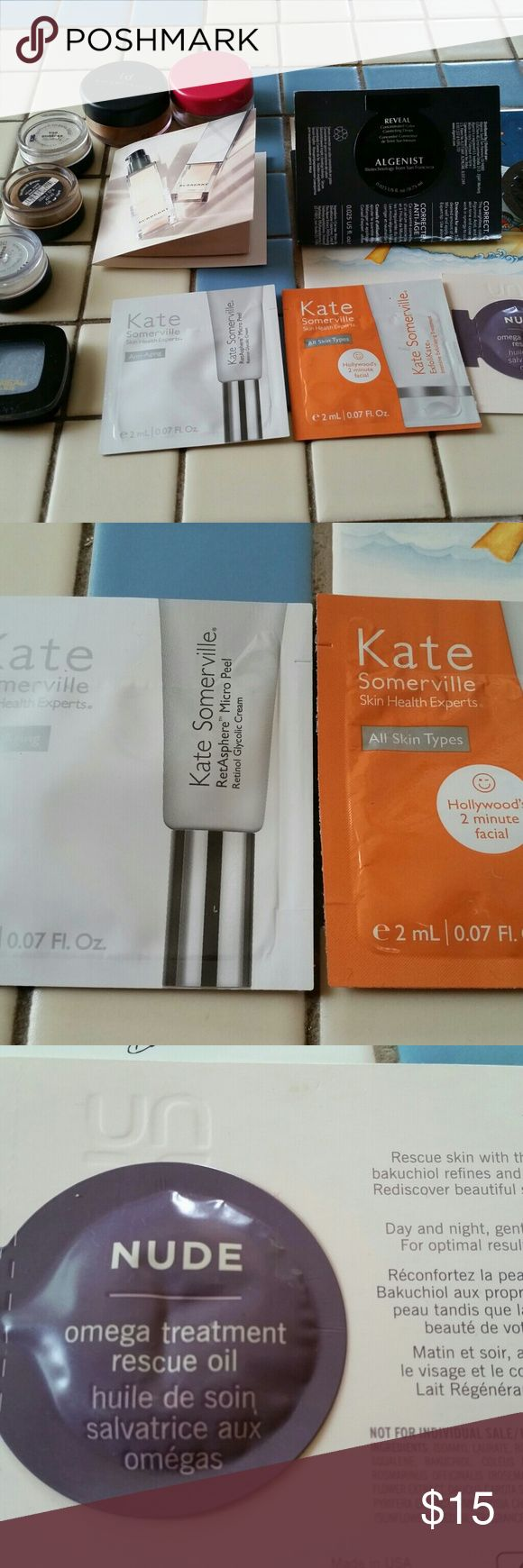 Makeup samples with Bare Minerals bonus! Lots of deluxe samples, all new... Kate Somerville exfoliate and micropeel (2 samples), Nude omega rescue oil, Creme du Nil moisturizer, Algenist Reveal color correcting drops, Burberry luminous fluid. Also included as a bonus... Three bare minerals eyeshadow, two bare minerals blush, and one l'oreal eyeshadow... All have been opened and used, but at least half remains in all. Comes from nonsmoking home and I ship quickly! Makeup