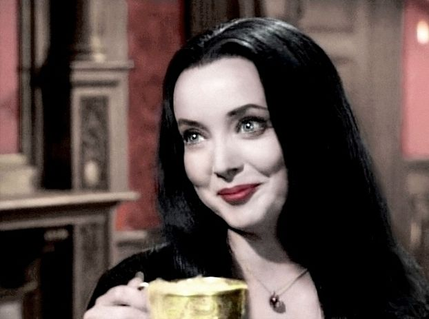 "Carolyn Jones as Morticia Addams ""Sugar, cream or cyanide?"" Wasn't she just stunningly beautiful?"