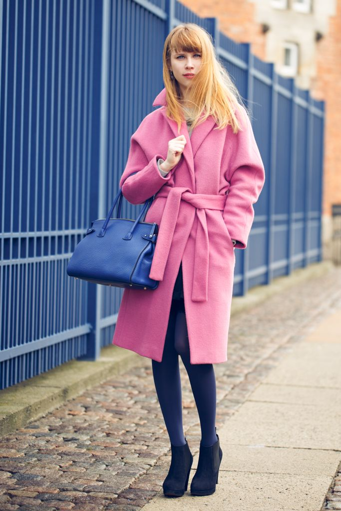 Shop this look for $66:  http://lookastic.com/women/looks/pink-overcoat-and-blue-shopper-handbag-and-navy-tights-and-black-ankle-boots/1203  — Pink Coat  — Blue Leather Tote Bag  — Navy Tights  — Black Suede Ankle Boots