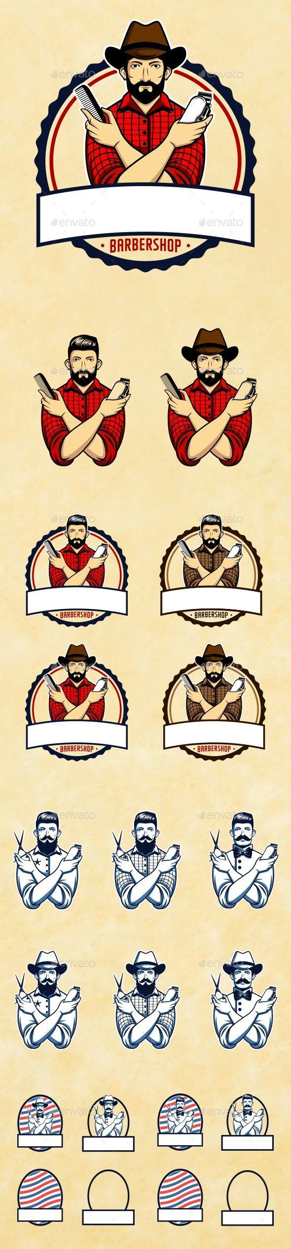 Barber Shop Set - People Characters