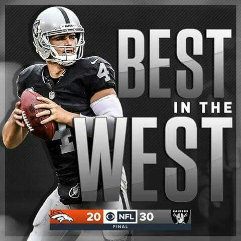 The Oakland Raiders now stand alone at the top of the AFC West!