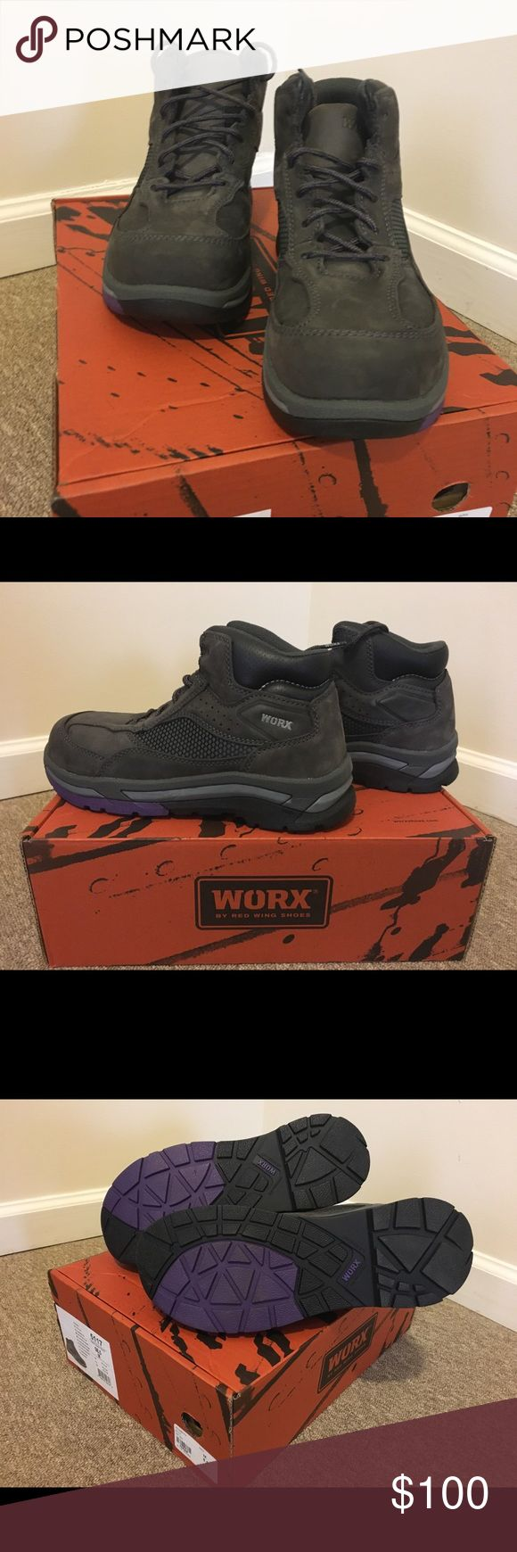 Redwing Work Boots Composite Toe Brand New comes with original box. They feature: Electrical Hazard Composite Toe Memory Foam insoles Purple and Gray from the Worx collection by Red Wing. Size:8.5 M Red Wing Shoes Combat & Moto Boots