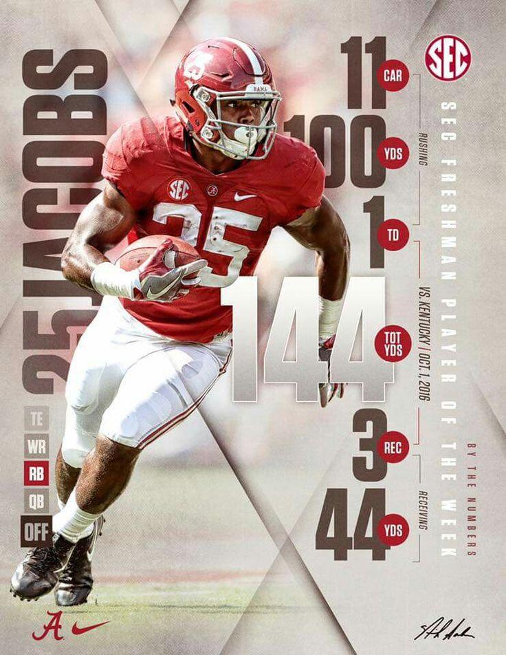 Alabama RB Joshua Jacobs (2016) #Alabama #RollTide #Bama #BuiltByBama #RTR #CrimsonTide #RammerJammer