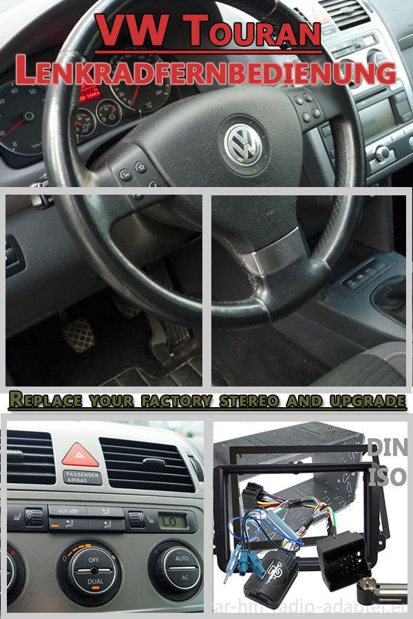 VW Touran Set Lenkradfernbedienungsadapter 2 DIN Einbaurahmen  - Car Hifi Radio Adapter.eu VW Touran ab BJ 2003-2015 Lenkradfernbedienungsadapter mit CAN BUS Doppel DIN Radioeiinbauset und doppel Fakra Antennenadapter