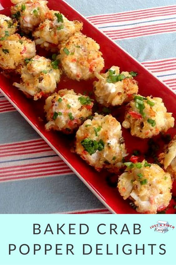 The perfect crab appetizer! No one needs to know how quick and easy these are. With a bit of heat, the red pepper adds a punch of flavor and the sauce you brush on top is a great touch.: