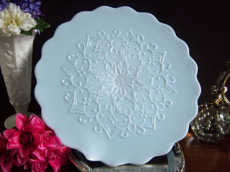 fenton blue spanish lace milk glass cake stand wedding milk glass blue milk glass