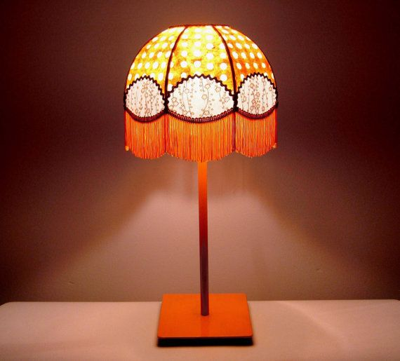 "Bedside lamp bohemian Japanese and nepalese paper fringe ""Pandora"""