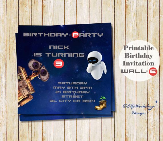 Wall E Birthday Invitation Wall e and Eva by ElfsWorkshopDesign #wall-e