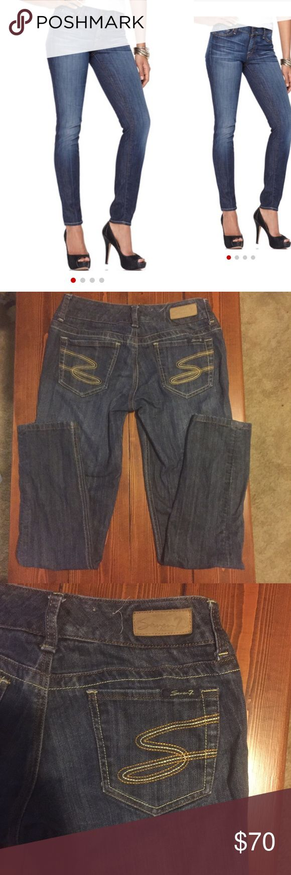 EUC Seven jeans, the skinny fit. Size 27 Seven For All Mankind jeans. The Skinny fit. Excellent condition. Size 27, inseam: 29 inches, rise: 7 1/2 inches. Medium to dark wash with two-tone stitching and two-tone S on the pockets. Seven7 Jeans Skinny