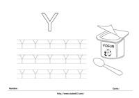 Ficha para imprimir Y Mayúscula - Yogur