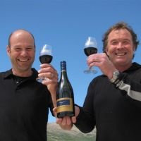 Peregrine winemaker Pete Bartle (left) and Peregrine co-owner Greg Hay with the champion 2007 Peregrine pinot noir, which was named Winestate magazine's grand champion wine of the year in 2009. Join Greg at this year's South Walton Beaches Wine and Food Festival 2013!  www.sowalwine.com #wine