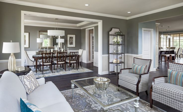Enjoy a relaxed evening with friends and family in this sophisticated living room from The Woodside at Moorefield Green, Parson Manor, in VA.   Credit: Ron Blunt Photography