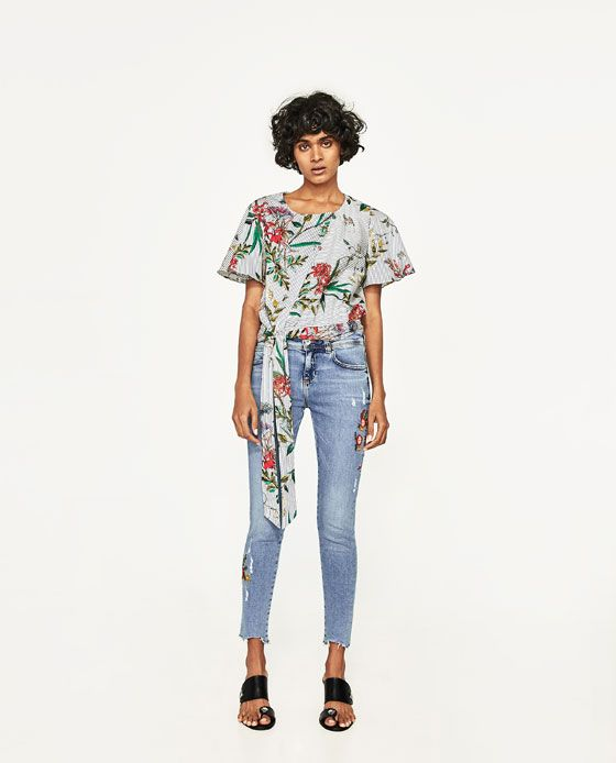 ZARA - WOMAN - MID-RISE JEANS WITH SEQUINNED EMBROIDERY