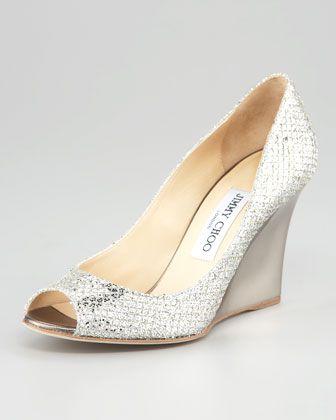 Bello Glittered Wedge Pump - Neiman Marcus    oh heyy wedding shoes