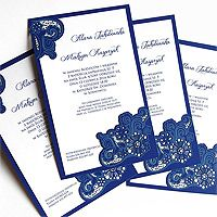 wedding cards, zaproszenie ślubne niebieskie
