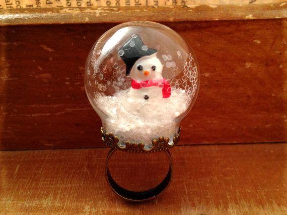 Sneeuw Globe Ring glas ring Snowman ring Ring kerst WINTER sneeuw antieke bronzen vintage stijl ring