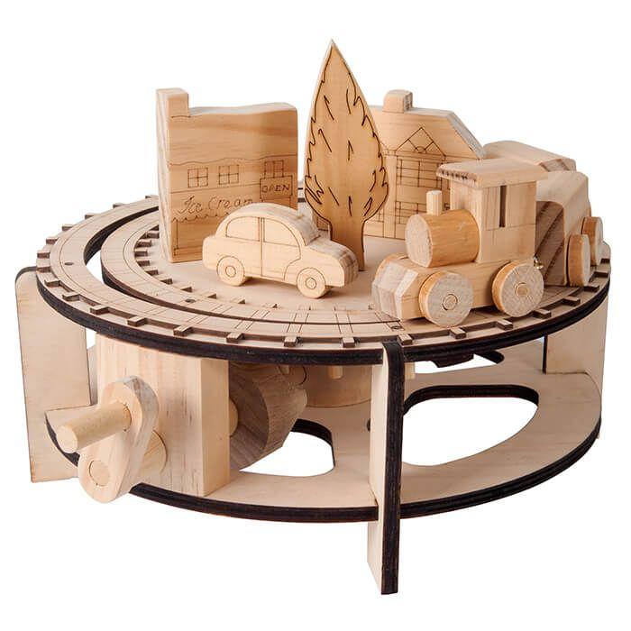 Mechanisch houten bouwset trein