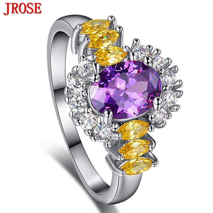 JROSE Gorgeous  Purple & Golden & White CZ White Gold Color Ring Size 6 7 8 9 For Women/Men Party Jewelry  Gift