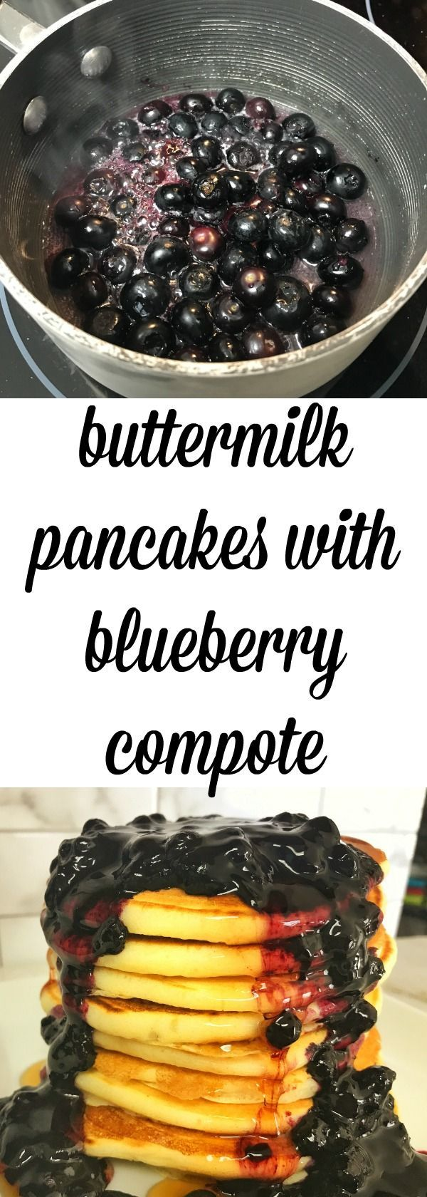 quick and easy pancake recipe made with pantry staples and a recipe for making your own buttermilk.  Also includes a super easy recipe for making a blueberry compote topping.