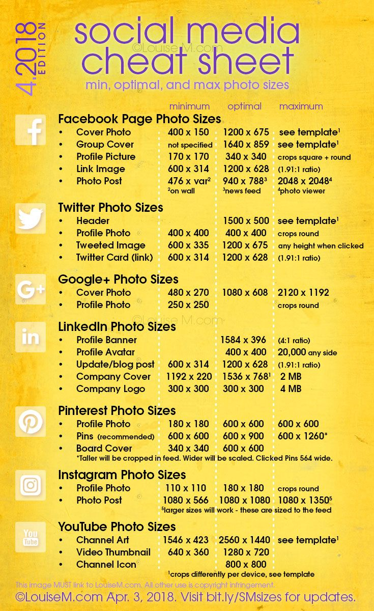 Always updated! CLICK to blog for the latest FREE printable Social Media cheat sheet! Image sizes for Facebook, Pinterest, Instagram, Twitter, Google+, LinkedIn, YouTube. And more social media marketing tips for your small business or blog! #socialmediatips #visualmarketing #marketingtips #socialmediamarketing #smallbusinesstips #graphicdesign