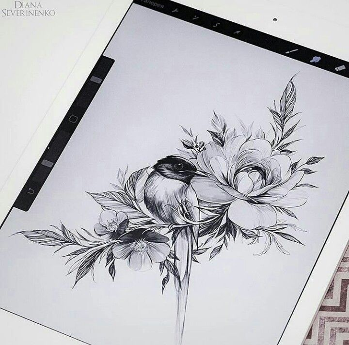 bird b w blackandwhite flower lines tats. Black Bedroom Furniture Sets. Home Design Ideas