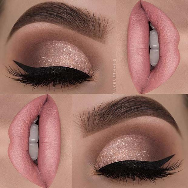 Soft Pink Lips + Glitter Eyes