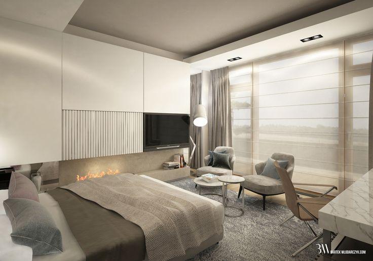 Projekt sypialni w odcieniach beży i szarości z łóżkiem firmy Restoration Hardware, fotelami Leslie firmy Minotti i lampą Fork firmy Diesel