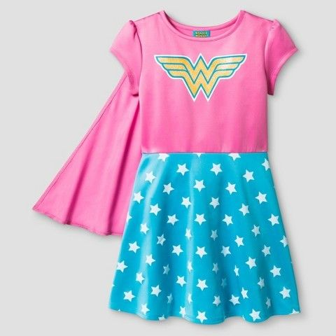 Girls' Wonder Woman Dress with Cape - Pink