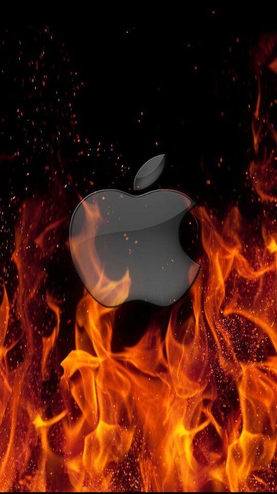 Apple logo on fire .