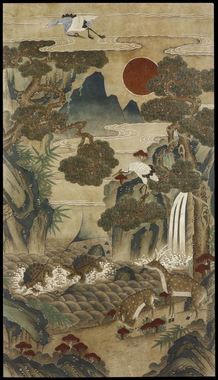 (Korea) Ten Longevity Symbols by unknown artist, Korea. Joseon Kingdom (1392-1910). ca 19th century CE. ink and colors on paper.