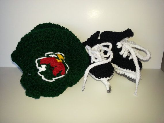 Minnesota Wild Helmet and Ice Skates NHL Wild Hockey by Dremnstar, $35.00