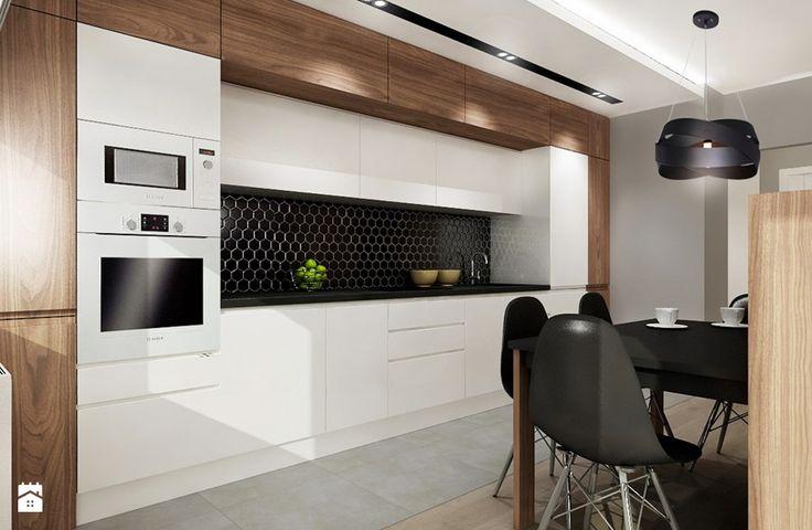 Mieszkanie na wynajem 2 - Średnia otwarta kuchnia jednorzędowa w aneksie z oknem, styl nowoczesny - zdjęcie od All Design Agnieszka Lorenc