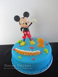 Doces Opções: Bolo de aniversário com o Mickey