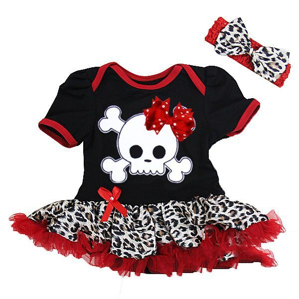 Black and Red Leopard Print Skull  2 Piece Onesie Baby Tutu Outfit