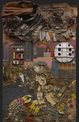 ANTONIO BERNI  Argentinean, 1905 - 1981  Juanito va a la ciudad (Juanito Goes to the City)  1963  Wood, paint, industrial trash, cardboard, scrap metal, and fabric assemblage on board  129 x 79 x 15 inches   The Museum of Fine Arts, Houston