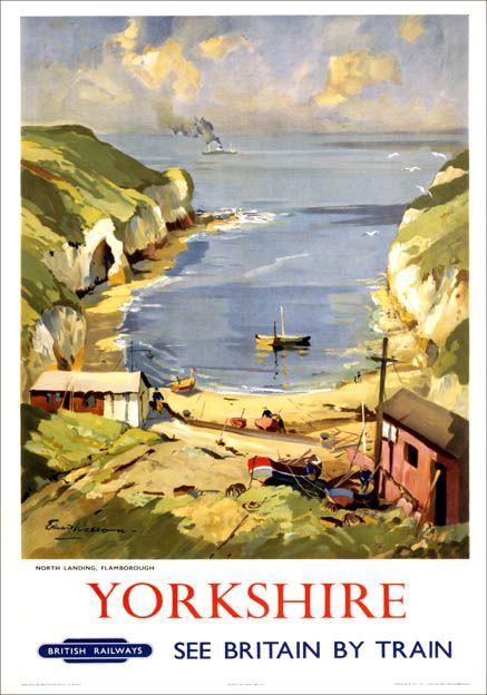 PosterYorkshire, North Landing, Flamborough. BR (ER) Vintage Travel Poster by Edward Wesson.16
