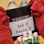 What a fun idea to create a basket to welcome overnight visitors! Use this free printable guest room art to make them feel at home.
