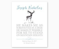 Personalized Baptism Print Psalm 18:33 He Makes Me As Surefooted As A Deer, Baptism bible verse, baptism printable, baptism wall art, baptism gift for boy, christening gift for boy, gift from godparents, gift for godson