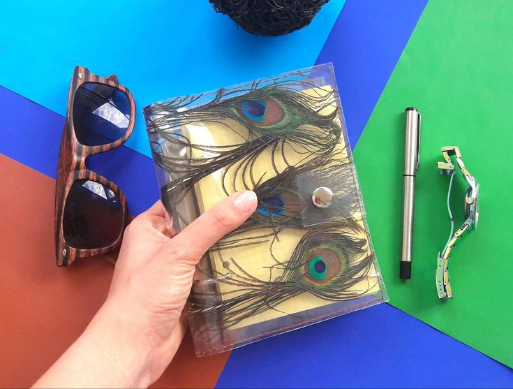 Peacock journal, peacock feather notebook, A6 Peacock Refillable, unique A6 binder, personal diary, feather memory notepad, gift for woman, by YPSILONBAGS on Etsy