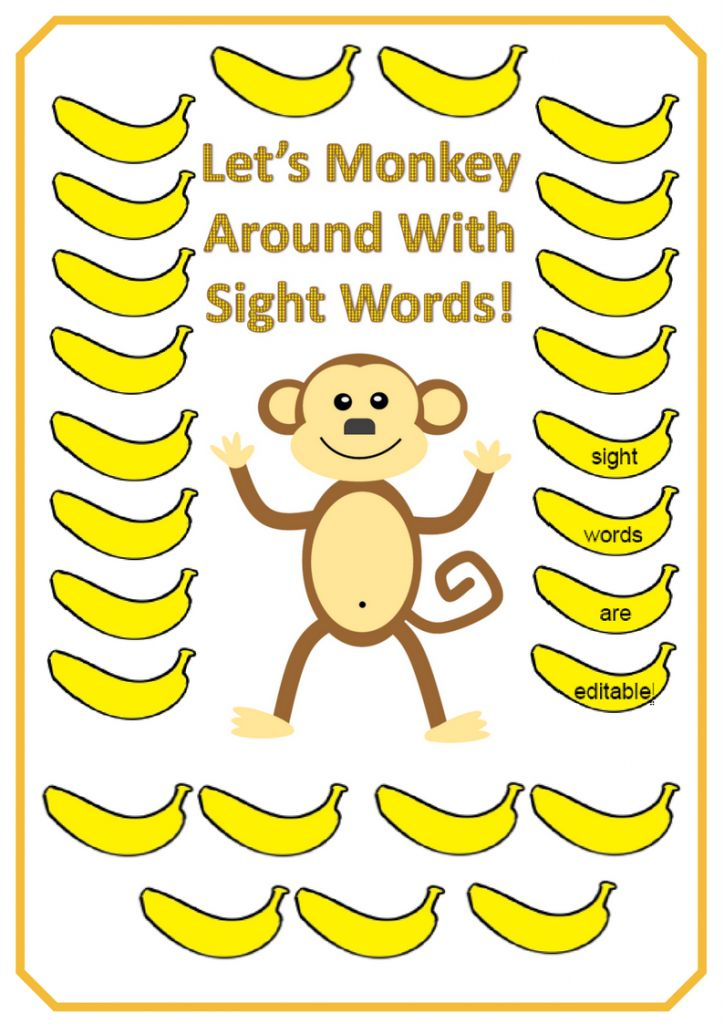 Editable Monkey Sight Word Wall Display