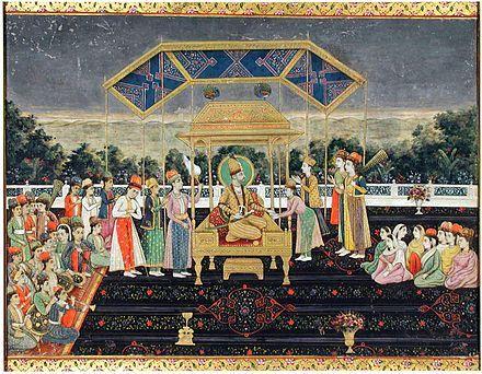 Надир Шах на Павлиньем троне после победы над Мухаммад Шахом.  Индийская миниатюра, ок.  1850г, Музей искусства Сан Диего.