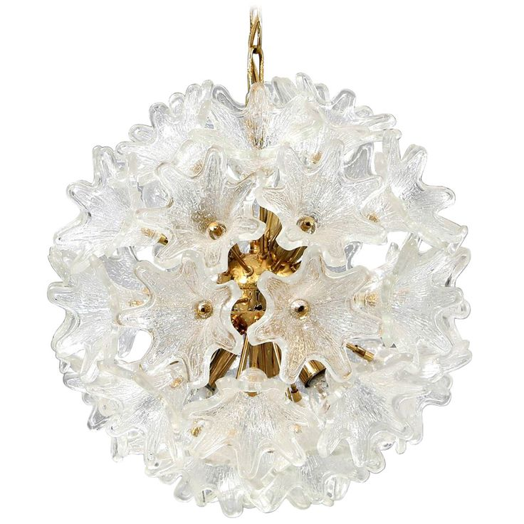 Murano Brass and Glass Flower Ball Chandelier   From a unique collection of antique and modern chandeliers and pendants  at https://www.1stdibs.com/furniture/lighting/chandeliers-pendant-lights/