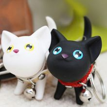 Cartoon Fashion Cat Kitten Keychain Keyring Bell Toy Lover Key Chain Rings For Handbag 88 KQS(China (Mainland))